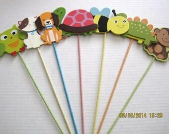 Floral Picks Handmade Wooden Owl, Bee, Puppy, Kitten, Monkey, Dinosaur, Turltle, Monkey You Choose !