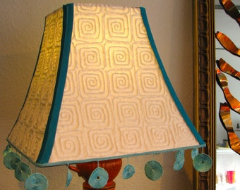 OOAK Orange Teacup Lamp with White and Teal Lampshade
