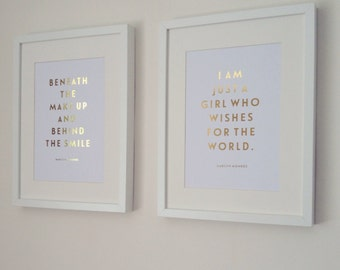2 Gold Foil ' Beneath the Make Up, I Am Just A Girl' Marilyn Monroe Quote Prints