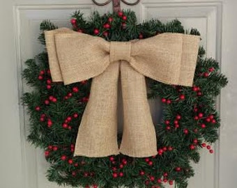 Winter wreath, Berry wreath, Door wreath, Christmas wreath, Holiday wreath, Large burlap bow!