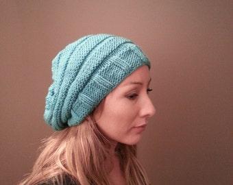 Free Shipping Women's Slouchy Aqua Beanie Hat