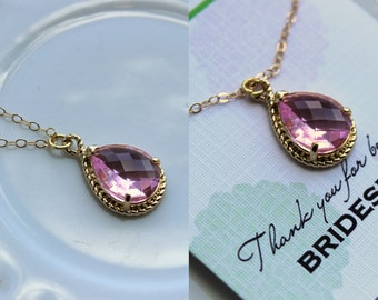 Gold Light Pink Necklace - Blush Wedding Necklace Jewelry Bridesmaid Gift Jewelry - Blush Pink Bridal Jewelry Pink Bridesmaid Gift Under 30