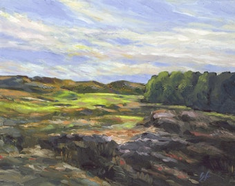Golf Art. Golf Course Painting. Golf Gift. Royal Birkdale Golf Club, England. Print of original oil painting.