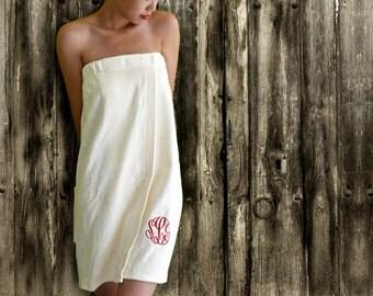 SALE - Monogrammed Spa Towel Wraps // COLLEGE DORM shower wrap // Personalized wrap  // Bridesmaid wraps