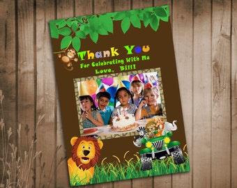 Jungle Animal Safari Thank You Card  With  Photo - Printable DIY
