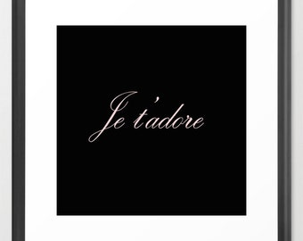 Paris Print - Paris Canvas Art - Je T' Adore - Pink - Wall Decor - Paris Canvas Art - Paris Decor - Gift for Her - Girls Wall Art - GIfts