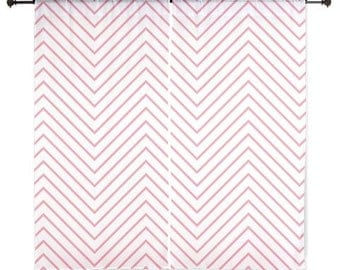 Chiffon Curtains - Chevron Curtains - Sheer Curtains - Glam Decor - Pink Chevron - Dorm Room Curtains - Glam Decor - Pink Chevron