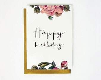 Printable Birthday Card - Instant Download - 4x6 - 5x7 - DIY - Vintage Roses - Happy Birthday  - Stationary