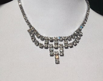 Authentic Vintage - 1980 - Crystal, Paste Necklace - Silvertone Metal - Ideal For Bridal Wedding Jewellery - Party