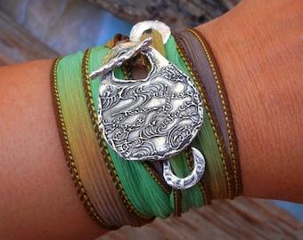 Gypsy Jewelry, Gypsy Wrap Bracelet, Gypsy Bracelet, Ocean Jewelry Wrap Bracelet, Sterling Silver GYPSY Bracelet, Bohemian Fashion, Boho Chic