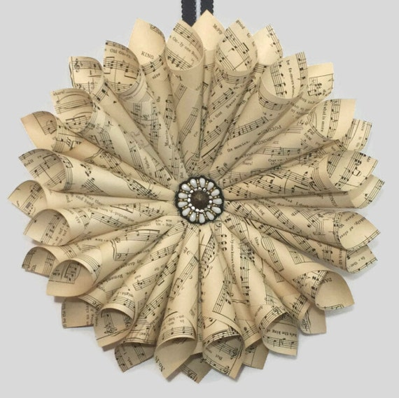 Sheet Music Wreath - Antique Book Wreath - Paper Flower Wreath