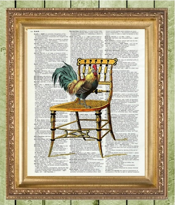 Kitchen wall decor rooster dictionary art print - Rooster wall decor kitchen ...