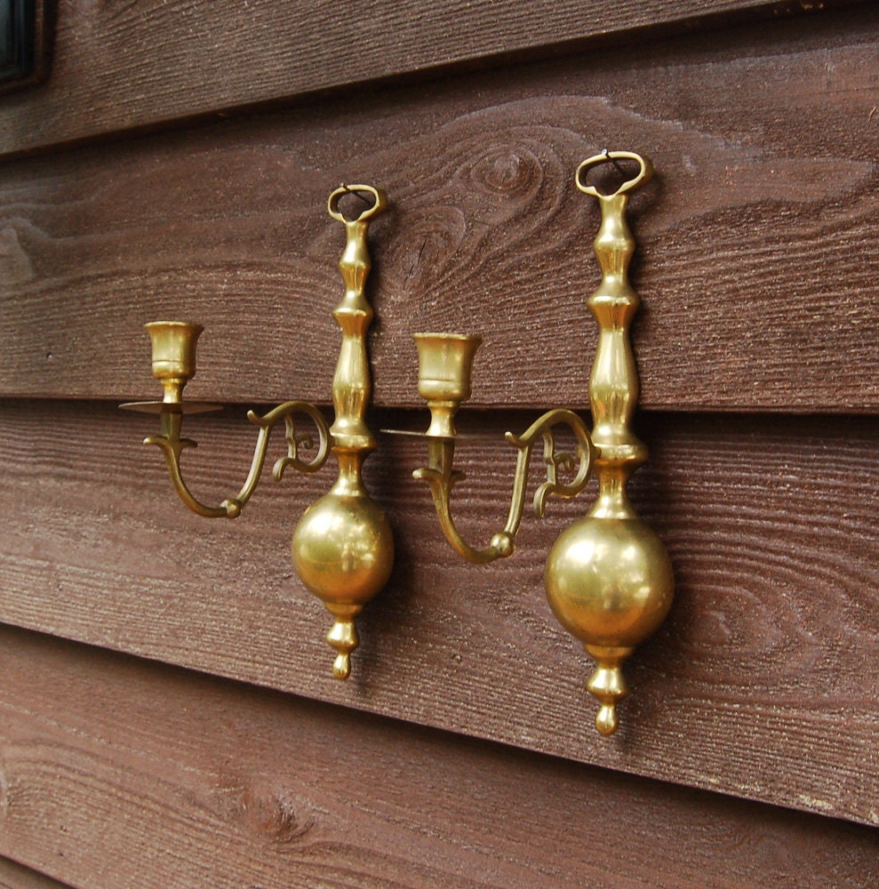 Pair Brass Wall Sconces Vintage Fireplace by PineSpringsCottage