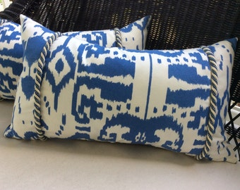 Quadrille Pillow Cover in Blue and White Island Ikat with Rope Trim, 11x21, Insert Optional