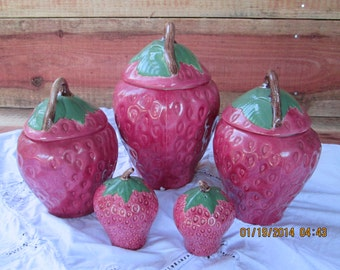 Vintage Ceramic Strawberry Canister Set