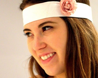 White romantic headband. BUY 3 GET 1 FREE, small peach flower, white Headband turban, Hair Wrap, Elastic Head Wrap for Women. Yoga headband.