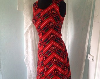 Clearence!! 1970's Pyschedelic Red Zig Zag disco dress. Medium