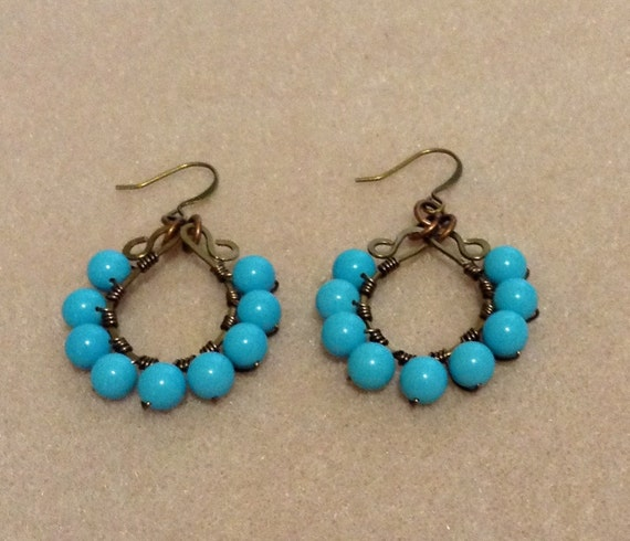 Chalk Turquoise Handmade Pendant Earrings