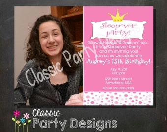 Sleepover Slumber Party Invitation Birthday Party - DIGITAL or PRINTED