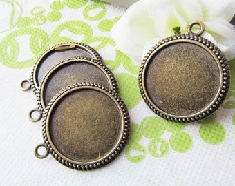 Antique Silver tone/Antique bronze Round Base Setting Bezel Tray Bezel Pendant Charm/Finding,Caved Border,fit 25mm Round Cabochon/Cameo