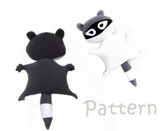 Sewing Pattern Racoon, stuffed animal, sewing stuffed toy, PDF sewing toy, plush toy sewing, sewing ebook, pdf tutorial