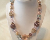 Unique and Handmade Pink and Purple Beaded Statement Necklace - FarmersWifeJewelry