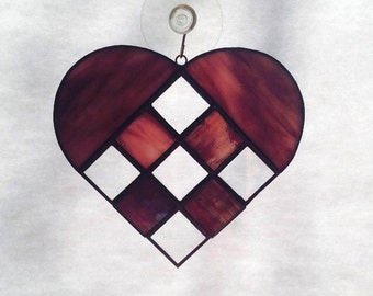 Stained Glass Checkerboard Heart Suncatcher