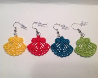 Machine Lace Embroidered Seashell Earrings