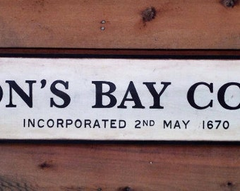 Vintage wooden sign 'Hudson's Bay Company ' 1950's