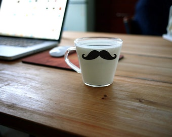 FREE SHIPPING Quirky Creative Mustache Movember Glass / Mug | Great Gift Idea!