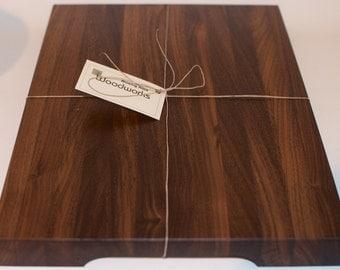 Wood Walnut Cutting Board, Walnut Edge Grain Butcher Block Made from Solid Black Walnut, Handmade Wooden Kitchen Cutting Board