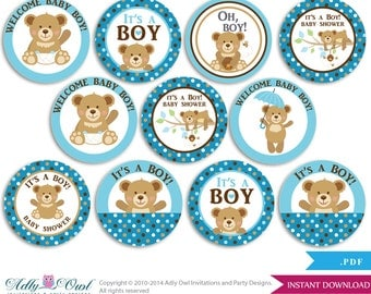 Boy Teddy Bear Cupcake Toppers for Baby Shower Printable DIY, favor tags, circles, It's a Boy, Polka - ONLY digital file - aa18bs0