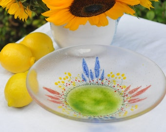 Fused glass bowl English Country Garden