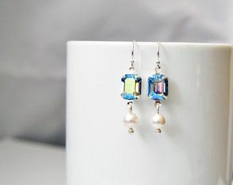 Vintage Crystal Dangle Earrings Eco Friendly Silver      Swarovski Earrings Pearl Drop Earrings Handmade Jewelry Sterling Silver