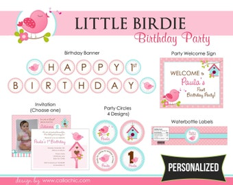 Bird Birthday Party Package PRINTABLE - Girl 1st Birthday - Pink Turquoise/Teal