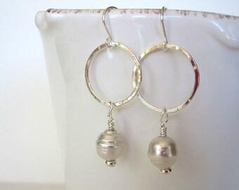 Pearl Dangle Earrings, South Sea Pearl, Sterling Silver Hoop Earrings, Tahitian Pearl, Pearl and Silver Hoops, Pearl Drop Earrings, Hoops