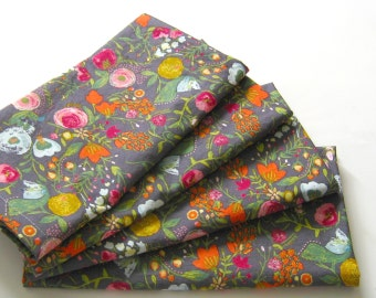 cloth napkins set of 4 pink red blue gold gray flowers wedding