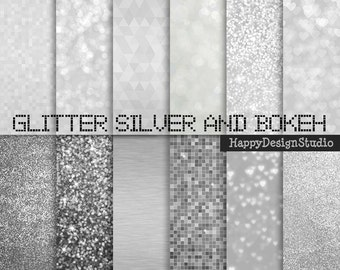 "Silver glitter digital paper pack, 12""x12"", commercial use, instant download"