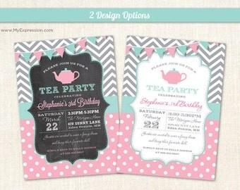 Chevrons & Polka Dots Tea Party Birthday Invitations  - Girls Birthday Invites - Digital or Printed