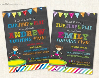 Trampoline Invitations - Trampoline Party Invitations  -Boy and Girl Birthday Invitations  -  Jump and Bounce Invitations