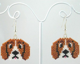 Beaded Beagle Earrings
