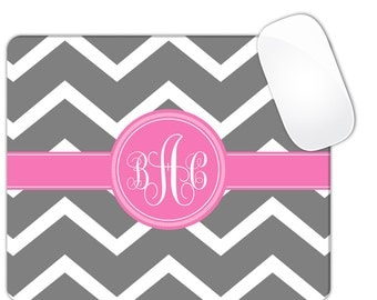 Chevron Monogram  MousePad Mouse Pad Personalized Custom Gray,Gray,Pink,Red,Purple,Yellow