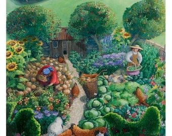 Chickens in the Garden. Limited edition giclee print. Allotment painting. Vegetable garden. Painting of chickens