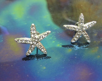 Silver Starfish Earrings - Stud Earrings - Rhinestone Starfish Earrings - Beach Earrings - Beach Wedding - Nautical Jewelry
