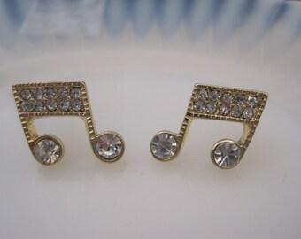 Gold Music Note Earrings - Stud Earrings - Rhinestone Double Music Note Earrings -  - Music Jewelry - Music