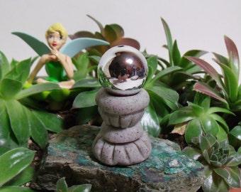 Miniature Gazing Ball For Your Fairy Garden, Moss Garden Or Terrarium,  Hand Sculpted