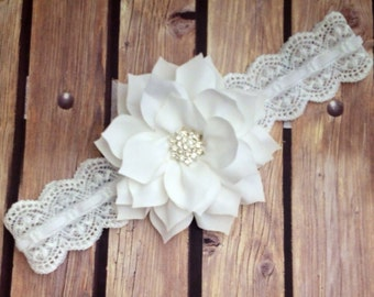 Baptisim headband, white headband, lace headband, flower girl headband, vintage headband, infant headband, halo, white lace headband,
