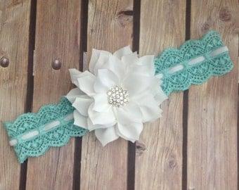 Blue and white headband, vintage headband, flower girl headband, lace headband, floral headband, aqua headband, baby headband, halo,