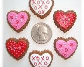 6 Piece Set Valentine COOKIE HEART Hairbow Centers - Oh My Gosh Goodies Resins