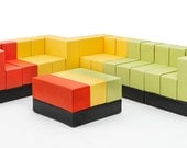 Chair. Loveseat. Unique Furniture: The #Skittles by Oi Furniture is fun, easy, eco-friendly, modular seating ideal for play & lougne - OiFurniture